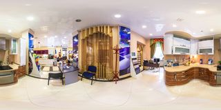 MOSCOW, RUSSIA - FEBRUARY 19, 2013: Panorama in interior stylish furniture kitchen store Full 360 degree seamless panorama in stock photo