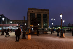 Moscow, Russia - February 21.2016. People waiting for trains in area of Leningrad station Royalty Free Stock Image