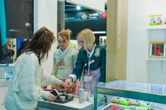 MOSCOW, RUSSIA - FEBRUARY 10-14: PRODEXPO 2020. 27th International Exhibition for Food, Beverages, display Raw Materials. Show