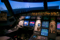 Moscow, Russia - February 18, 2015: Real Flight Hydraulic Simulator for the Training of the Pilots. Royalty Free Stock Photos