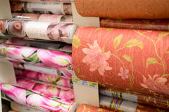 MOSCOW, RUSSIA - FEBRUARY 15, 201: roll of wallpaper in Leroy Merlin Store. Leroy Merlin is a French home-improvement and gardenin Royalty Free Stock Images