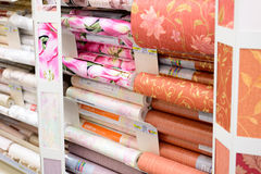 MOSCOW, RUSSIA - FEBRUARY 15, 201: roll of wallpaper in Leroy Merlin Store. Leroy Merlin is a French home-improvement and gardenin Royalty Free Stock Photography