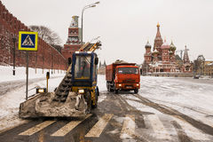 MOSCOW, RUSSIA-FEBRUARY 8: snow-clearing equipment eliminates th Stock Images