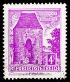 Vienna Gate, Hainburg (Lower Austria), Buildings. serie, circa 1960. MOSCOW, RUSSIA - FEBRUARY 10, 2019: A stamp printed in Austria shows Vienna Gate stock image