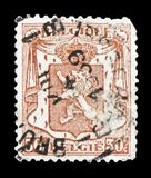 Precancel on Small Coat of Arms 20Ct, serie, circa 1939. MOSCOW, RUSSIA - FEBRUARY 10, 2019: A stamp printed in Belgium shows Precancel on Small Coat of Arms stock photography
