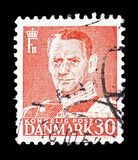 King Frederik IX, serie, circa 1950. MOSCOW, RUSSIA - FEBRUARY 10, 2019: A stamp printed in Denmark shows King Frederik IX, serie, circa 1950 stock image