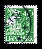 Sailship, serie, circa 1939. MOSCOW, RUSSIA - FEBRUARY 10, 2019: A stamp printed in Denmark shows Sailship, serie, circa 1939 stock photos