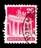 Brandenburg Gate, American and British Zone serie, circa 1949. MOSCOW, RUSSIA - FEBRUARY 9, 2019: A stamp printed in Germany, Allied Occupation 1945-1949, shows royalty free stock photos