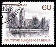 Village Church, Alt-Lichtenrade, Berlin views serie, circa 1978. MOSCOW, RUSSIA - FEBRUARY 22, 2019: A stamp printed in Germany, Berlin shows Village Church, Alt stock photos
