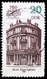 Ephraim Palais, 750 Years Berlin serie, circa 1987. MOSCOW, RUSSIA - FEBRUARY 21, 2019: A stamp printed in Germany, Democratic Republic shows Ephraim Palais, 750 stock image