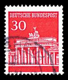 Brandenburg Gate, Berlin, serie, circa 1966. MOSCOW, RUSSIA - FEBRUARY 10, 2019: A stamp printed in Germany, Federal Republic, shows Brandenburg Gate, Berlin royalty free stock photography