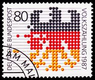 Federal Eagle, Census serie, circa 1987. MOSCOW, RUSSIA - FEBRUARY 21, 2019: A stamp printed in Germany, Federal Republic shows Federal Eagle, Census serie royalty free stock images