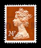 Queen Elizabeth II - Decimal Machin, serie, circa 1986. MOSCOW, RUSSIA - FEBRUARY 9, 2019: A stamp printed in Great Britain shows Queen Elizabeth II - Decimal stock photo