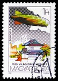 Fly Around the World, Zeppelin serie, circa 1981. MOSCOW, RUSSIA - FEBRUARY 10, 2019: A stamp printed in Hungary shows Fly Around the World, Zeppelin serie stock photo