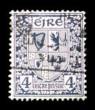Coats of Arms, Symbols 1940-68 serie, circa 1940. MOSCOW, RUSSIA - FEBRUARY 10, 2019: A stamp printed in Ireland shows Coats of Arms, Symbols 1940-68 serie royalty free stock photos
