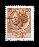 Coin of Syracuse, 30 Lires, serie, circa 1960. MOSCOW, RUSSIA - FEBRUARY 10, 2019: A stamp printed in Italy shows Coin of Syracuse, 30 Lires, serie, circa 1960 stock photo