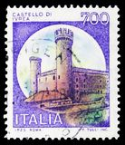 Ivrea, Castles serie, circa 1980. MOSCOW, RUSSIA - FEBRUARY 10, 2019: A stamp printed in Italy shows Ivrea, Castles serie, circa 1980 royalty free stock images