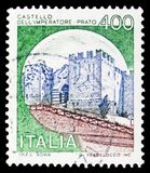 Prato, Castles serie, circa 1980. MOSCOW, RUSSIA - FEBRUARY 10, 2019: A stamp printed in Italy shows Prato, Castles serie, circa 1980 stock photography