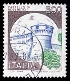 Rovereto, Castles serie, circa 1980. MOSCOW, RUSSIA - FEBRUARY 10, 2019: A stamp printed in Italy shows Rovereto, Castles serie, circa 1980 royalty free stock images
