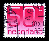Numeral, 50 Dutch cents, Figure type 'Crouwel ' serie, circa 1980. MOSCOW, RUSSIA - FEBRUARY 10, 2019: A stamp printed in Netherlands shows Numeral, 50 Dutch stock photos