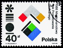 International Year of Graphic Design, circa 1988. MOSCOW, RUSSIA - FEBRUARY 9, 2019: A stamp printed in Poland devoted to International Year of Graphic Design royalty free stock photos