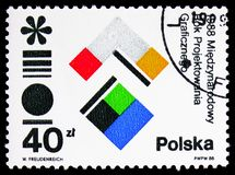International Year of Graphic Design, circa 1988. MOSCOW, RUSSIA - FEBRUARY 9, 2019: A stamp printed in Poland devoted to International Year of Graphic Design stock images