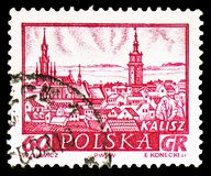 Kalisz, Historic Towns serie, circa 1960. MOSCOW, RUSSIA - FEBRUARY 10, 2019: A stamp printed in Poland shows Kalisz, Historic Towns serie, circa 1960 stock photography