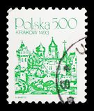 Krakow, 1493, City Landmarks serie, circa 1981. MOSCOW, RUSSIA - FEBRUARY 10, 2019: A stamp printed in Poland shows Krakow, 1493, City Landmarks serie, circa royalty free stock photo