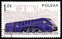 Pm36 and Cegielski factory, Poznan, 1937, Locomotives in Poland serie, circa 1978. MOSCOW, RUSSIA - FEBRUARY 20, 2019: A stamp printed in Poland shows Pm36 and stock photos