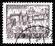 Warsaw, Historic Towns serie, circa 1960. MOSCOW, RUSSIA - FEBRUARY 10, 2019: A stamp printed in Poland shows Warsaw, Historic Towns serie, circa 1960 royalty free stock image