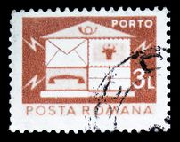 Letterbox, Post and telecommunications IV serie, circa 1982. MOSCOW, RUSSIA - FEBRUARY 14, 2019: A stamp printed in Romania shows Letterbox, Post and royalty free stock photos