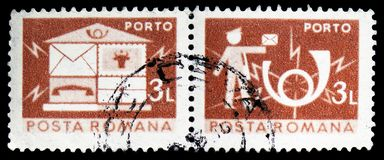 Letterbox; Postman and Posthorn, Post and telecommunications IV serie, circa 1982. MOSCOW, RUSSIA - FEBRUARY 14, 2019: A stamp printed in Romania shows Letterbox royalty free stock photos