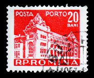 Main post office, Post and telecommunications I serie, circa 1957. MOSCOW, RUSSIA - FEBRUARY 14, 2019: A stamp printed in Romania shows Main post office, Post royalty free stock photography