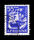 Timber tractor, Daily life serie, circa 1960. MOSCOW, RUSSIA - FEBRUARY 9, 2019: A stamp printed in Romania shows Timber tractor, Daily life serie, circa 1960 royalty free stock images