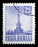 TV transmission tower, Postal and Transport serie, circa 1971. MOSCOW, RUSSIA - FEBRUARY 14, 2019: A stamp printed in Romania shows TV transmission tower, Postal stock photo