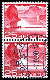 Dam near Melide (Lake Lugano), Landscapes and technics serie, circa 1949. MOSCOW, RUSSIA - FEBRUARY 10, 2019: A stamp printed in Switzerland shows Dam near stock photo