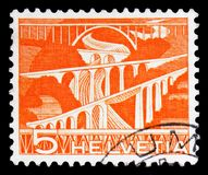 Sitter Bridges near St. Gallen, serie, circa 1949. MOSCOW, RUSSIA - FEBRUARY 10, 2019: A stamp printed in Switzerland shows Sitter Bridges near St. Gallen, serie stock photo