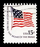 Fort McHenry Flag, Americana Issue serie, circa 1978. MOSCOW, RUSSIA - FEBRUARY 22, 2019: A stamp printed in United States shows Fort McHenry Flag, Americana stock image