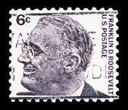 Franklin Delano Roosevelt (1882-1945), 32nd President, Famous Americans serie, circa 1966. MOSCOW, RUSSIA - FEBRUARY 10, 2019: A stamp printed in United States royalty free stock photos