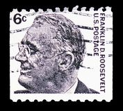 Franklin Delano Roosevelt (1882-1945), 32nd President, Famous Americans serie, circa 1967. MOSCOW, RUSSIA - FEBRUARY 10, 2019: A stamp printed in United States stock photography