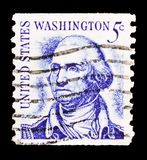 George Washington (1732-1799), 1st President, Famous Americans serie, circa 1966. MOSCOW, RUSSIA - FEBRUARY 10, 2019: A stamp printed in United States shows royalty free stock photography