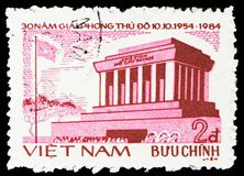 Chi Minh mausoleum, Liberation of Hanoi, 30th Anniversary serie, circa 1984. MOSCOW, RUSSIA - FEBRUARY 22, 2019: A stamp printed in Vietnam shows Ho Chi Minh royalty free stock photo