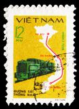 Train And Reunified Railway Route Map, serie, circa 1980. MOSCOW, RUSSIA - FEBRUARY 21, 2019: A stamp printed in Vietnam shows Train And Reunified Railway Route royalty free stock photo