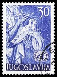 Two doves, United Nations serie, circa 1953. MOSCOW, RUSSIA - FEBRUARY 10, 2019: A stamp printed in Yugoslavia shows Two doves, United Nations serie, circa 1953 stock photos