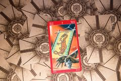Tarot card Three of Wands. Dragon tarot deck. Esoteric background. Moscow, Russia - February 18, 2018: Tarot card Three of Wands. Dragon tarot deck. Esoteric Stock Photos