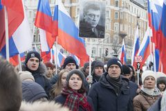 Thousands rally in Moscow to commemorate slain opposition leader before election. Moscow, RUSSIA - FEBRUARY 26, 2018: Thousands rally in Moscow to commemorate Royalty Free Stock Photography