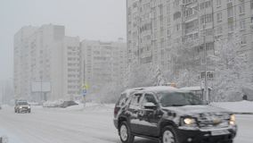 Moscow, Russia - February 4. 2018. Traffic on road after heavy snowfall in Zelenograd. Moscow, Russia - February 4, 2018. Traffic on the road after a heavy stock video