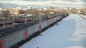 MOSCOW, RUSSIA - FEBRUARY 27, 2016: Train railway station platform Pererva. Top view stock video