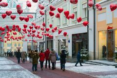 Moscow, Russia - February 11, 2018. Tretyakov Passage decorated with balloons in shape of hearts for Valentine Day Royalty Free Stock Photo