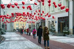 Moscow, Russia - February 11, 2018. Tretyakov Passage decorated with balloons in shape of hearts for Valentine Day Royalty Free Stock Image